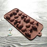 Форма силиконовая для конфет Заяц, Утка и Яйцо