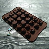 Форма силиконовая для конфет Подарок, Сердце и Цветок