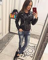 Кожаная женская куртка косуха в расцветках 77178