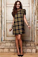 Прямое платье с коротким рукавом фонариком 881054