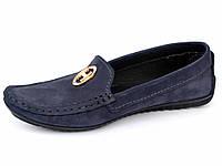 """Женская обувь больших размеров мокасины замшевые Ornella Blu Vel by Rosso Avangard цвет синий """"Океан"""""""