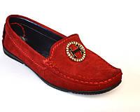 """Женская обувь больших размеров мокасины замшевые Ornella BS Red by Rosso Avangard цвет красный """"Сольферино"""""""
