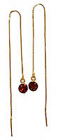 Серьги - протяжки ХР,цвет: позолота . Камень: бордовый циркон. Длина серьги 13 см. ширина шарика: 6 мм.