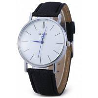 Geneva Кварцевые наручные часы унисекс с синими стрелками на циферблате и контрастным кожаным ремешком Чёрный