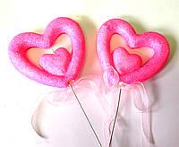 Сердечки блестящие, розовые, 2 шт