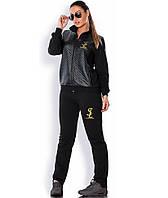 Спортивный костюм из трикотажа и двухнитки черный размеры от XL 2153