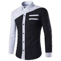 Цвет Блок двойной молнии для похудения рубашки воротник с длинными рукавами Прохладный футболки для мужчин