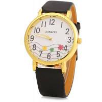 JUBAOLI 1091 декоративный с орнаментом цветок женские кварцевые часы кожаный ремешок Чёрный