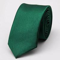 Стильный узкий мужской галстук шириной 5см ярких цветов Темно-зелёный