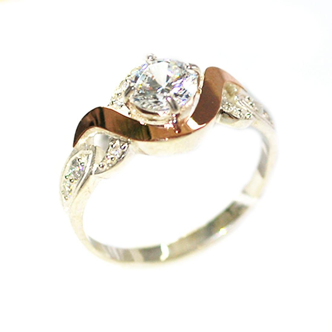 Кольцо из серебра с золотыми вставками, модель 134