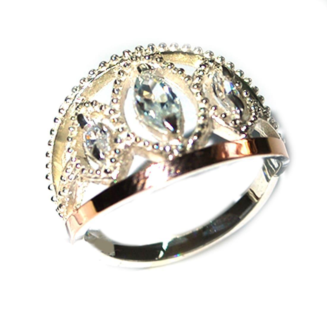 Кольцо из серебра с золотыми вставками, модель 126