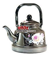 """Чайник 2,5л эмалированный темно-коричневый (декор - """"Розы"""") с подвижной ручкой и плоским дном Frico FRU-791-1"""