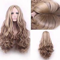 Bouffant завитые длинные синтетический модный светло-русый смешанная коричневый средняя часть косплей парик для женщин Цветной