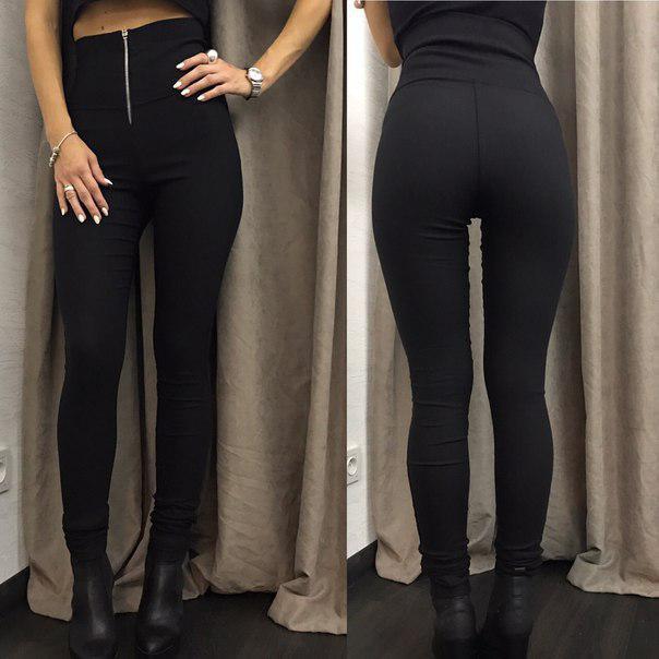 """Модные женские лосины с высокой талией с молнией спереди """"Roxy"""" большие размеры, черные"""