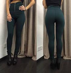 """Модні жіночі лосини з високою талією з блискавкою спереду """"Roxy"""", зелені"""
