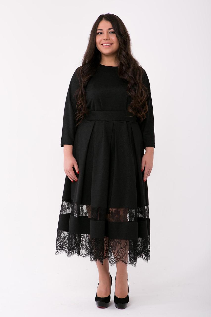d5da23f54bc Нарядное платье с французским кружевом ФЛОРЕНС черное (54-60) - цена ...