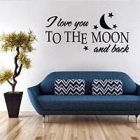 Мода Луны и Письма Pattern стикер стены для спальни Livingroom украшения Чёрный