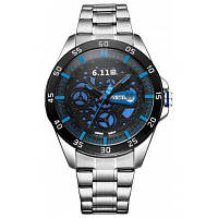 6.11 GD007 мужчин Фотоэлектрического преобразования часы серебристый и синий
