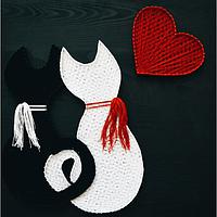 Картина String Art Влюбленные котики Закохані котята 40х40 см