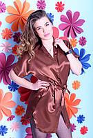Легкий удобный сатиновый халатик-кимоно
