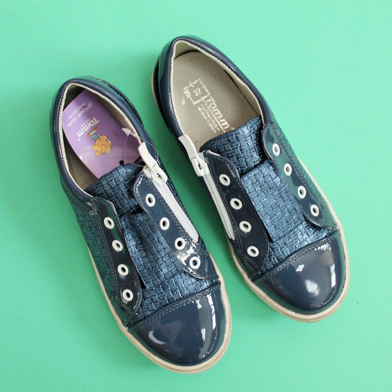 ec4baca47 ... Туфли школьные Слипоны для девочек синие подростковые Tom.m размер 32,33,34  ...