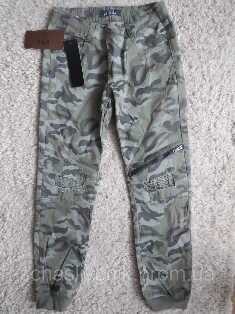 Детские котоновые камуфляжные джинсы  с Венгрии оптом , размер 134-164, фирма F&D