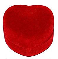 """Бархатная коробочка для кольца. """"сердце """" Цвет:  красный. Высота: 3 см. Ширина: 5 см."""