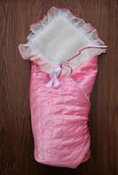 Нарядный конверт-одеяло на выписку в роддом, на овчине. Розовый
