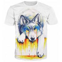 Круглый шеи 3D Плач собак Печать с коротким рукавом Стильная футболка для мужчин L