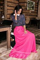 Привлекательная розовая юбка в пол на потайной молнии