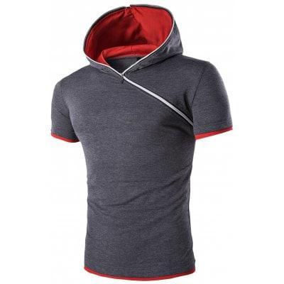 С капюшоном Solid Color Zipper дизайн с коротким рукавом футболки для мужчин  - ➊ТопШоп ➠ Товары из Китая с бесплатной доставкой в Украину! в Киеве