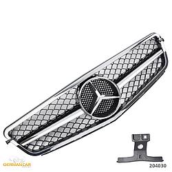 Решетка радиатора Mercedes C204 Coupe стиль C63 AMG (хром + черный глянц)