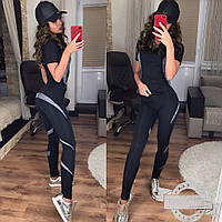 Женский черный костюм для фитнеса со вставками спираль