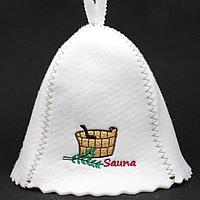 """Шапка для сауны и бани """"Sauna"""" с кадушкой на белом войлоке 56-58 размер"""