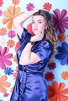 Легкий удобный сатиновый халатик-кимоно темно-синий, 48