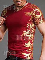 Похудение V-образным вырезом Золотой Тотем шаблон Короткие рукава футболки для мужчин 3XL