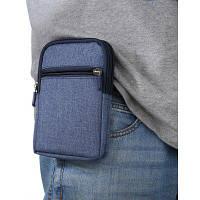 6 дюймовая джинсовая сумка для мобильного телефона с пряжкой Синий