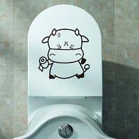 Мультфильм Прекрасные ткани крупного рогатого скота Туалет стены стикеры Чёрный