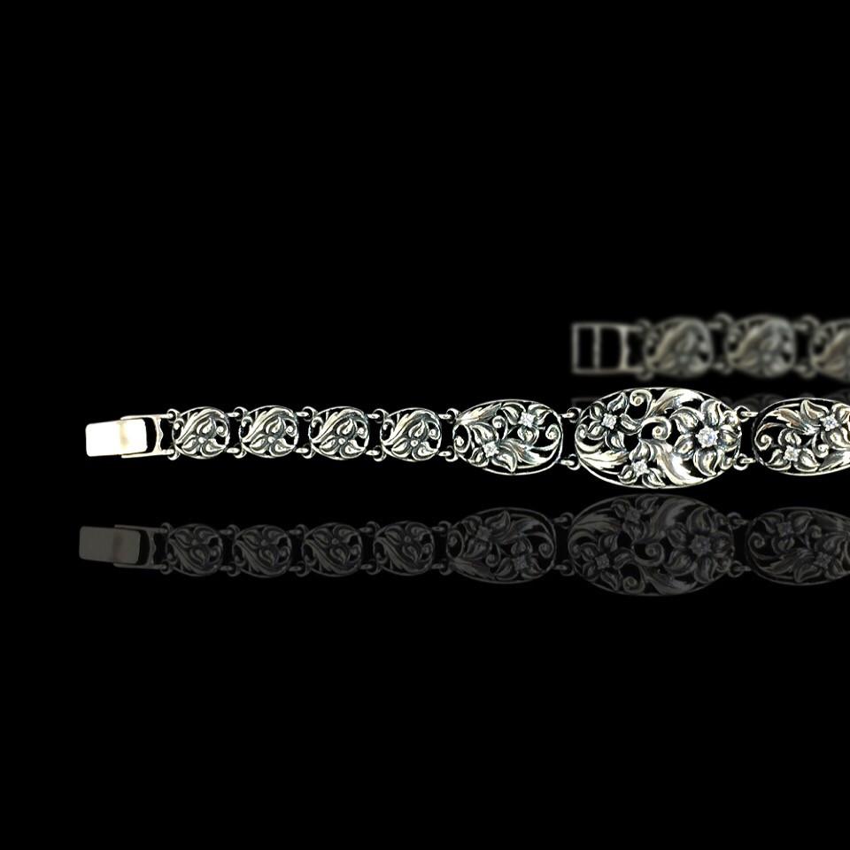 Срібний жіночий браслет з камінням, 190мм