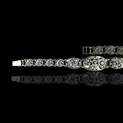 Срібний жіночий браслет з камінням, 190мм, фото 2