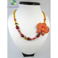 """Эксклюзивное ожерелье из сердолика (имитация) """"Экзотическая орхидея"""""""