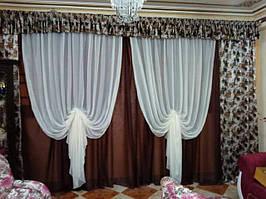 Классические шторы из шифона в зал