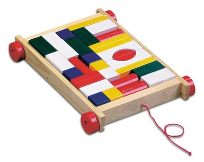 Тележка с цветными кубиками (34 детали) BINO