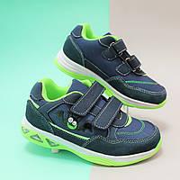 Детские синие кроссовки с подсветкой для детей BI&KI размер 27,28,29,30,31,32
