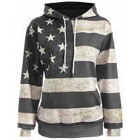 Женское худи с карманом и американским флагом XL