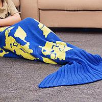 Теплое вязаное одеяло для детей мультфильм русалка Синий