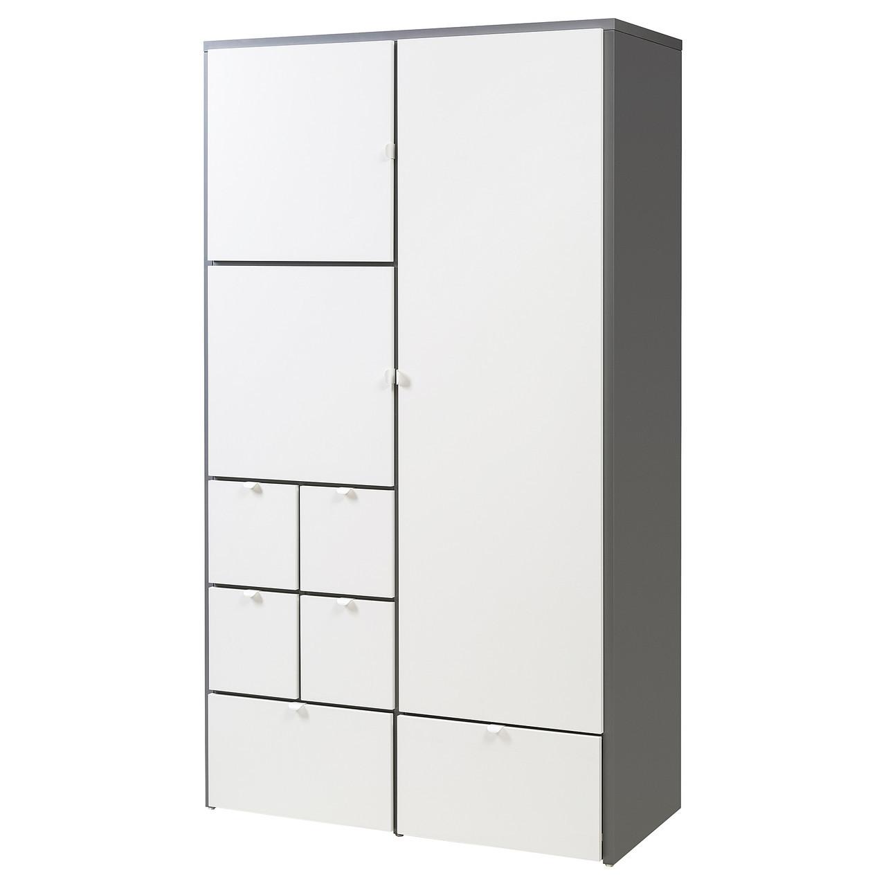 """ИКЕА """"ВИССУС"""" Шкаф Серый, Белый 122x59x216 см"""