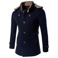 Шерстяное однобортное пальто с капюшоном большого размера