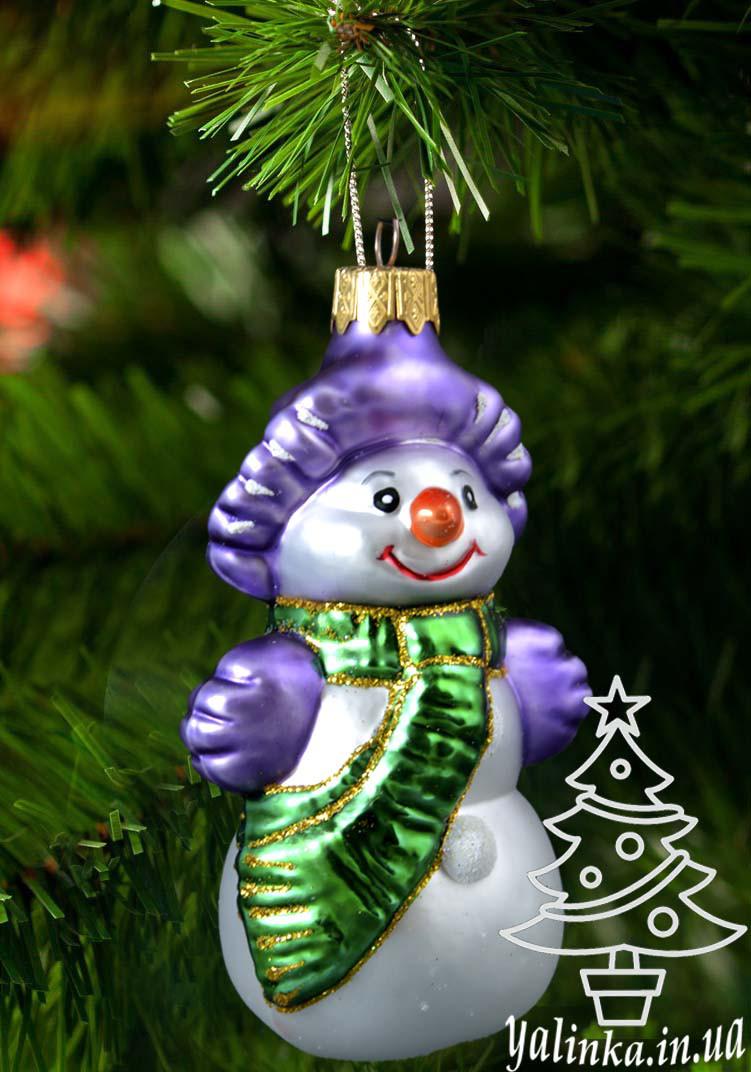 Стеклянная елочная игрушка Снеговик в шляпе 003