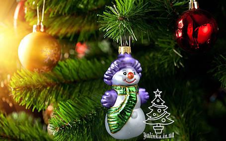 Стеклянная елочная игрушка Снеговик в шляпе 003, фото 2